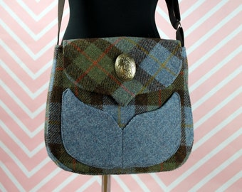 Myrtle - MacLeod Tartan Harris Tweed Cross Body Bag - Handmade Handbag - Messenger Bag - Casual Bags - Gift for her - Vintage Brooch