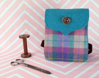 Beulah - Pink & Purple Tartan Harris Tweed Backpack- Handmade Handbag - Rucksack/ Knapsack - Casual Bags - Gift for her - Vintage Brooch