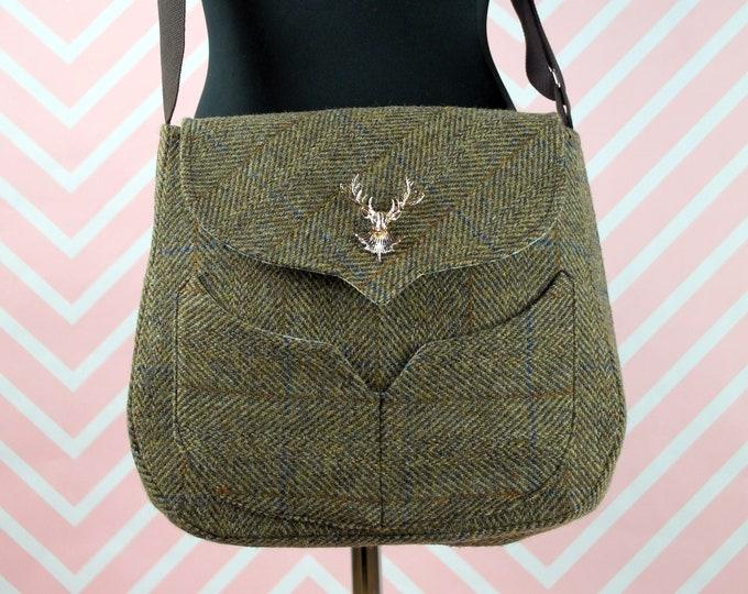 Featured listing image: Myrtle - Green Herringbone Harris Tweed Cross Body Bag - Handmade Handbag - Messenger Bag - Casual Bags - Gift for her - Vintage Brooch