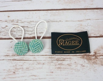 Green Herringbone Donegal Tweed Button Hair Bobbles