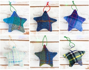 Christmas Stars Decoration - Made from Harris Tweed - Choose from Blue tweeds!