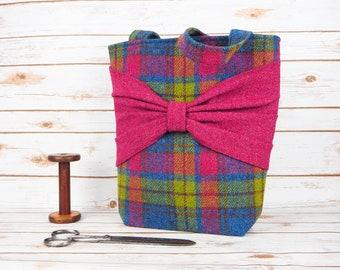 Esme - Blue, Yellow & Pink Tartan Large Harris Tweed Tote Bag