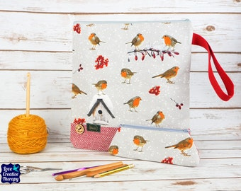 Robin Craft bag with Donegal Tweed base & pencil case gift set