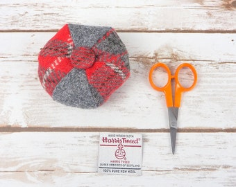 Grey & Red Tartan Harris Tweed Pin Cushion
