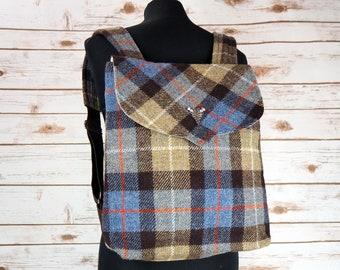 Beulah - MacKenzie Tartan Harris Tweed Backpack- Handmade Handbag - Rucksack/ Knapsack - Casual Bags - Gift for her - Vintage Brooch
