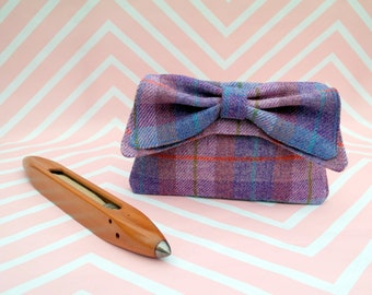 Katharine - Blue Purple Tartan Harris Tweed Clutch Bag - evening purse - bow - formal - handmade