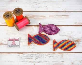 Tweed Beach Waves - Harris/ Donegal Tweed pin brooch - Choose from Variety!
