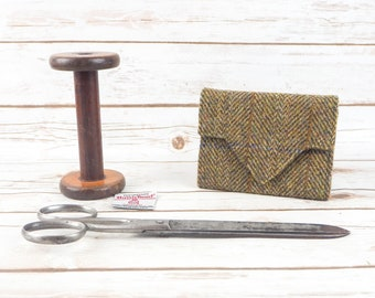 Olive Green Herringbone Harris Tweed Small Ladies Wallet with Coin Section