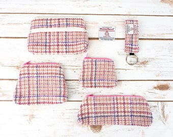 Pink Check Harris Tweed Accessories - Coin Purse, Pen/ Glasses Case, Keyring