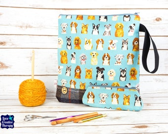 Dogs Craft bag with Harris Tweed base & pencil case gift set