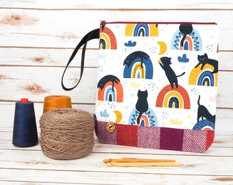 Rainbow Kitties Print Project bag with Harris Tweed base