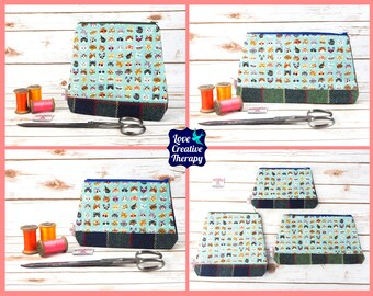 Zipped Pouches: Cat Cotton and Harris Tweed - Choose Size!