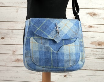 Myrtle - Blue Tartan Harris Tweed Cross Body Bag - Handmade Handbag - Messenger Bag - Casual Bags - Gift for her -Vintage Brooch