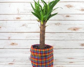 Medium Fabric Pot in Rainbow Tartan Harris Tweed
