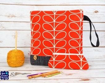 Red Orla Kiely Craft bag with Harris Tweed base & pencil case gift set