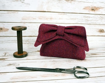 Audrey - Raspberry Pink Herringbone Harris Tweed Clutch Bag