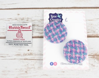 Pink & Purple Check Harris Tweed Covered Buttons - 37mm