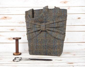 Esme - Brown Herringbone Large Harris Tweed Tote Bag