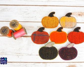 Halloween Pumpkin Pin - Harris Tweed pin brooch - Choose from Variety!
