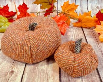 Plush Harris Tweed Pumpkins - Set of two in Orange & Beige Herringbone