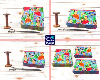 Zipped Pouches: Frida Kahlo Cotton and Harris Tweed - Choose Size!