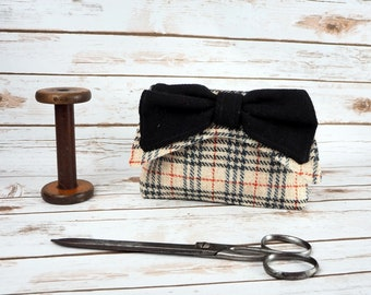 Audrey - Oatmeal with black orange overcheck Harris Tweed Clutch Bag