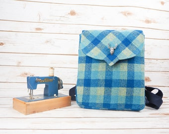 Beulah - Blue Tartan Harris Tweed Backpack