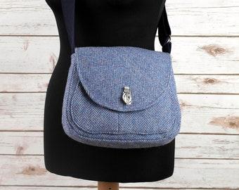 Bella - Blue Herringbone Harris Tweed Cross Body Bag - Handmade Handbag - Shoulder Bag - Casual Bags - Gift for her - Vintage Buttons
