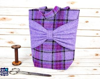 Esme - Purple Tartan with Bow Large Harris Tweed Tote Bag