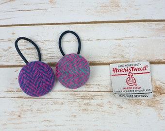 Pink/ Purple Herringbone Harris Tweed Button Hair Bobbles