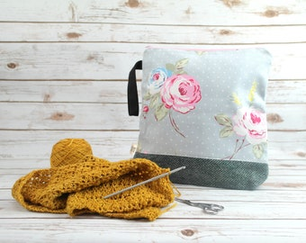 Floral Project bag with Harris Tweed base