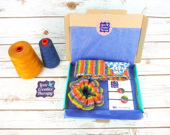 Rainbow Check Harris Tweed Hair Accessories Gift Box - Head Band Scarf, Scrunchie and Bobbles