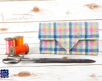 Pastel Check Tartan Harris Tweed Wallet with Coin Section