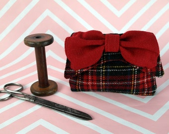 Audrey - Red & Black Tartan Harris Tweed Clutch Bag - evening purse - bow - formal - handmade