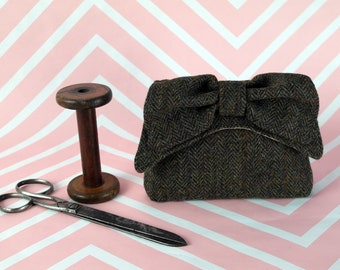 Audrey - Dark Green Herringbone Harris Tweed Clutch Bag - evening purse - bow - formal - handmade