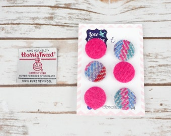 Pink Mix Harris Tweed Covered Buttons - 23mm