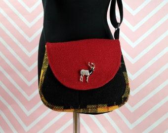 Bella - Yellow & Black Tartan Harris Tweed Cross Body Bag - Handmade Handbag - Shoulder Bag - Casual Bags - Gift for her