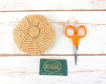 Caramel Herringbone Donegal Tweed Pin Cushion