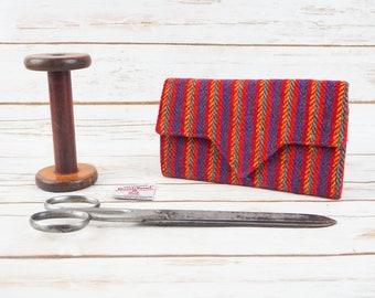 Dark Rainbow Herringbone Harris Tweed Ladies Wallet with Coin Section