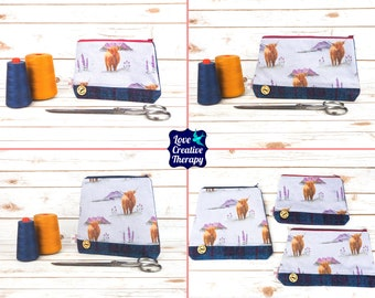 Zipped Pouches: Highland Cows Cotton and Harris Tweed - Choose Size!