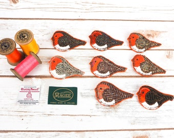 Orange Robins - Harris Tweed pin brooch - Choose from Variety!