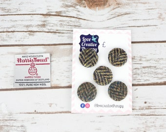 Mixed Herringbone Harris Tweed Covered Buttons - 23mm