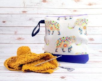 Mandala Elephant Project bag with Harris Tweed base