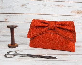 Katharine - Dark Orange Herringbone Harris Tweed Clutch Bag - evening purse - bow - formal - handmade