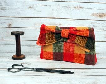 Katharine - Patchwork Herringbone Harris Tweed Clutch Bag - evening purse - bow - formal - handmade