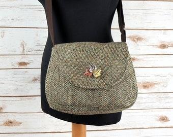 Bella - Barleycorn Harris Tweed Cross Body Bag - Handmade Handbag - Shoulder Bag - Casual Bags - Gift for her - Vintage Buttons