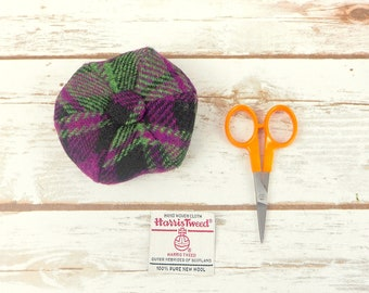 Pink - Black - Green Tartan Harris Tweed Pin Cushion