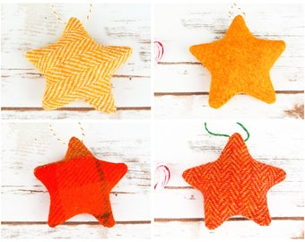 Christmas Stars Decoration - Made from Harris Tweed - Choose from yellow and orange tweeds!