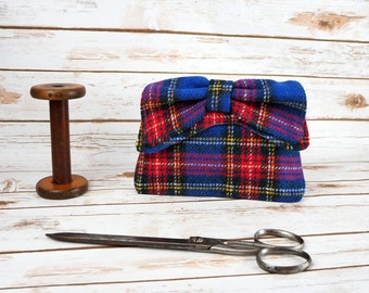 Audrey - Blue Tartan Harris Tweed Clutch Bag