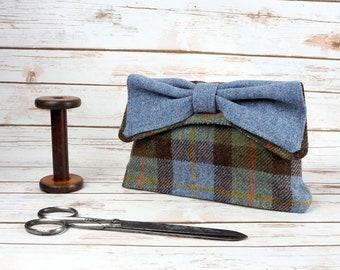 Katharine - MacLeod Tartan Harris Tweed Clutch Bag - evening purse - bow - formal - handmade
